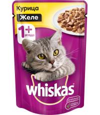 Whiskas корм пауч для взрослых кошек, курица желе, 85гр (72217)