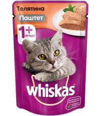 Whiskas корм пауч для взрослых кошек, телятина паштет, 85гр (02466)