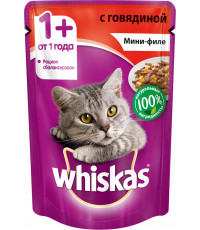 Whiskas корм пауч для взрослых кошек, говядина мини-филе, 85гр (79421)