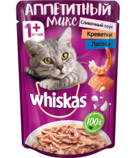 Whiskas Аппетитный микс для взрослых кошек, сливочный соус, креветки и лосось, 85гр (33582)