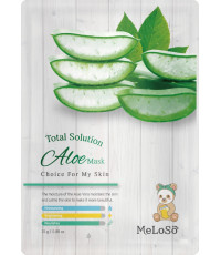 MeLoSo Aloe тканевая маска для лица, с экстрактом листьев алоэ, 1шт (02590)