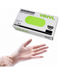 Перчатки медицинские виниловые диагностические, размер L, 100шт (50021)
