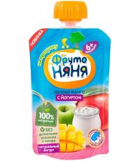 Фруто Няня пюре сашет, яблоко, манго с йогуртом, с 6 месяцев, 90гр (09087)