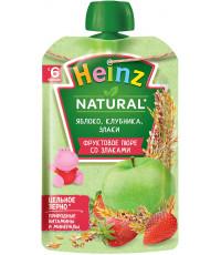 Heinz Natural пюре сашет, яблоко, клубника и злаки, с 6 месяцев, 90гр (04214)