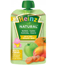 Heinz Natural пюре сашет, яблоко, тыква, морковь и манго, с 6 месяцев, 90гр (04580)