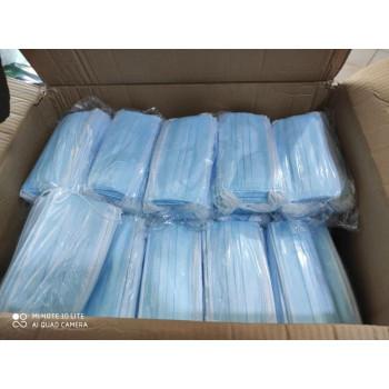 Маски медицинские оптом, фабричные одноразовые 3 слойные, с фиксатором, цвет голубой, 1 коробка, 2500шт (34392)
