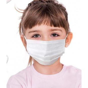 Детская маска медицинская фабричная одноразовая 3 слойная, с фиксатором, цвет белый (10595)