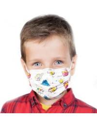 Детская маска медицинская фабричная одноразовая 3 слойная, с фиксатором, с рисунками (05489)