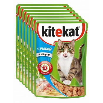 Kitekat корм пауч для взрослых кошек, рыба в соусе, выгодный набор, 7шт* 85гр (76048)