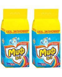 Миф Color стиральный порошок автомат, Свежий цвет, для цветного белья, выгодный набор, 2шт, 18кг (72762)