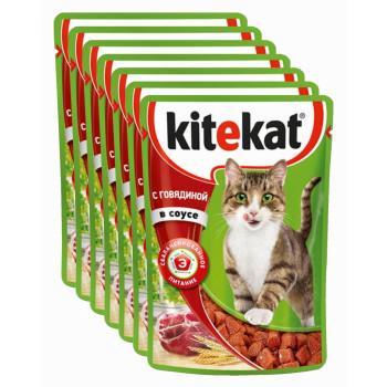 Kitekat корм пауч для взрослых кошек, говядина в соусе, выгодный набор 7шт*85гр (75966)