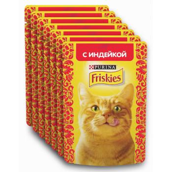 Friskies корм пауч для взрослых кошек, с индейкой, выгодный набор 7шт*85гр (96140)