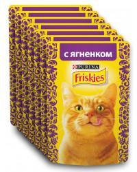 Friskies корм пауч для взрослых кошек, с ягненком, выгодный набор 7шт*85гр (69323)