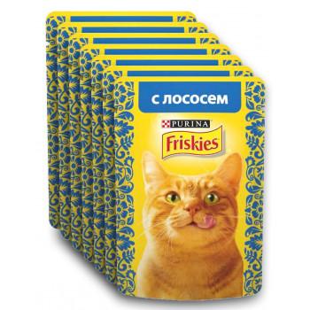 Friskies корм пауч для взрослых кошек, с лососем, выгодный набор 7шт*85гр (04263)