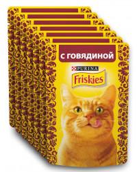 Friskies корм пауч для взрослых кошек, с говядиной, выгодный набор 7шт*85гр (68821)