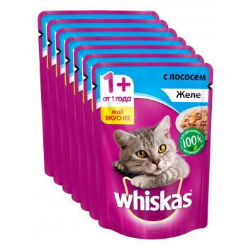 Whiskas корм пауч для взрослых кошек, желе с лососем, выгодный набор 7шт*85гр (72156)