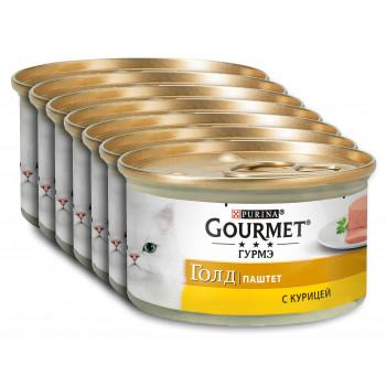 Gourmet Gold корм паштет для взрослых кошек, с курицей, выгодный набор 7шт*85гр (81494)