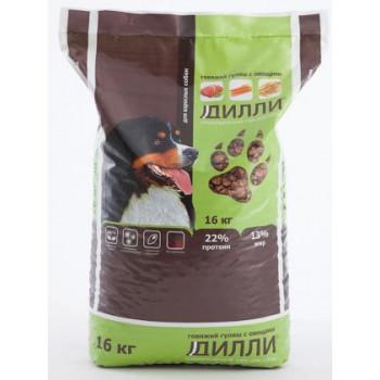 Дилли сухой корм для взрослых собак, говяжий гуляш с овощами, 16кг (03609)