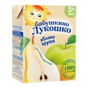 Бабушкино Лукошко сок Яблоко-Груша осветленный, 5+ месяцев, 200 мл (08980)