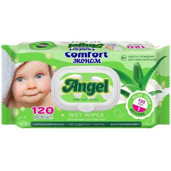 Angel Comfort детские влажные салфетки, алое вера, 120шт (09155)