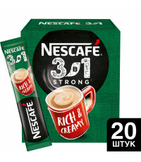 Nescafe Strong кофе растворимый 3в1, 20 пакетиков (11622)