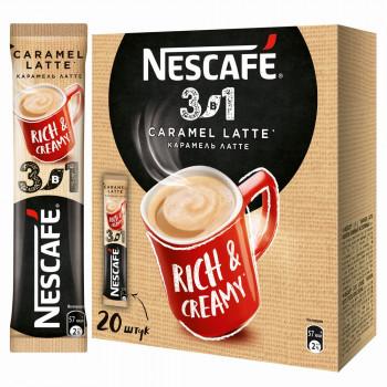 Nescafe Caramel Latte кофе растворимый 3в1, 20 пакетиков (94848)