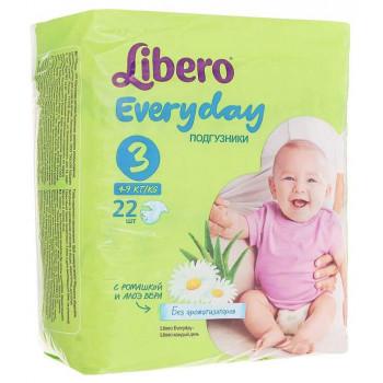 Libero everyday подгузники #3, 4-9 кг, 22шт (13469)
