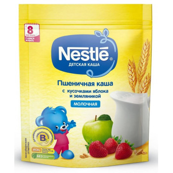 Nestle молочная каша пшеничная с яблоком и земляникой, с 8 месяцев, 220гр (31368)