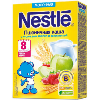 Nestle пшеничная каша с яблоком и земляникой, с молоком, с 8 месяцев, 220гр (31368)