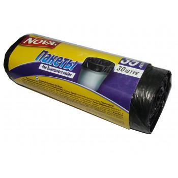 Nova пакеты для мусора, без затяжек, 35л*30шт (02560)