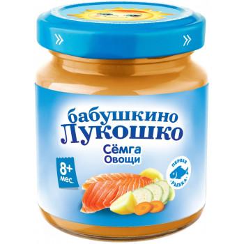Бабушкино Лукошко пюре рыбное, сёмга и овощи, c 8 месяцев, 100гр (05842)