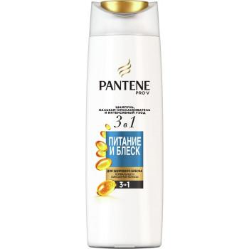 Pantene шампунь бальзам-ополаскиватель и интенсивный уход 3в1, Питание и блеск, для нормальных волос 400мл (73442)