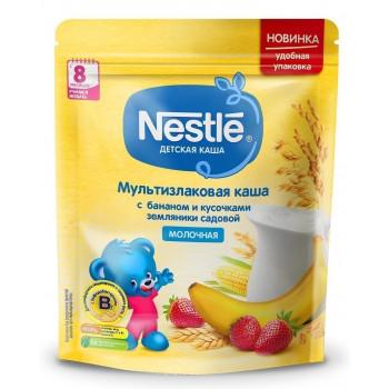 Nestle мультизлаковая каша с бананом и земляникой, с молоком, с 8 месяцев, 220гр (00379)