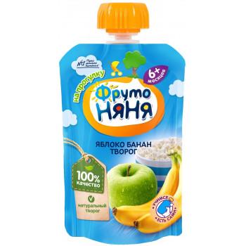 Фруто Няня пюре сашет, яблоко, банан и творог, c 6 месяцев, 90гр (06161)