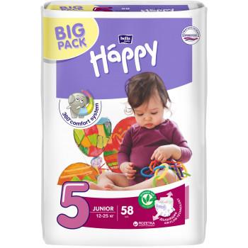 Happy junior  #5 подгузники, 12-25кг, 58шт (01133)