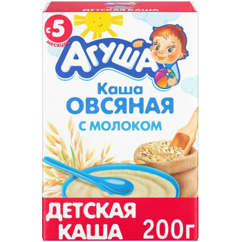 Агуша овсяная каша, с молоком, с 5 месяцев, 200гр (19654)