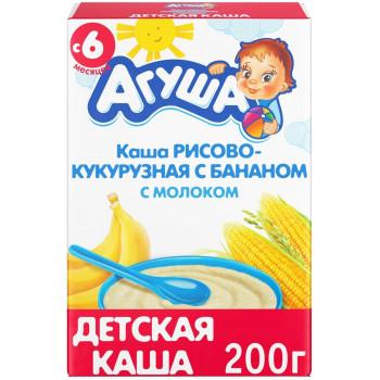 Агуша рисово-кукурузная с бананом каша, с молоком, с 6 месяцев, 200гр (19678)