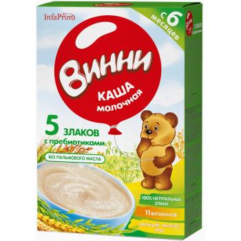 Винни каша 5 злаков с  пребиотиками, с молоком, с 6 месяцев, 200гр (04800)