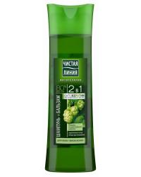 Чистая Линия шампунь+бальзам 2в1, Хмель и репейное масло, для всех типов волос 400мл (44782)