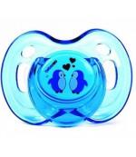 Bebeneo круглая пустышка прозрачная, синяя 12+ месяцев, 1шт (07270) 0727