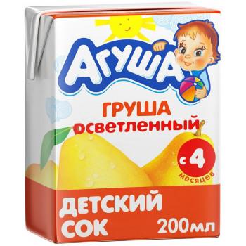 Агуша сок, груша осветленный, c 4 месяцев, 200мл (25129)