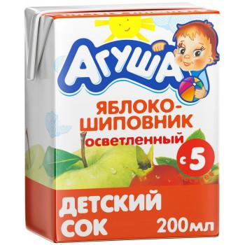Агуша сок, яблоко и шиповник осветленный, с 5 месяцев, 200мл (16790)