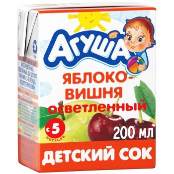 Агуша сок, яблоко и вишня осветленный, с 5 месяцев, 200мл (16806)