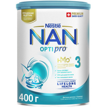 Nestle NAN OPTIPRO сухая молочная смесь #3, с 12 месяцев, 400гр (76175)