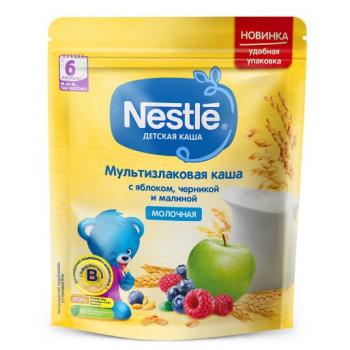 Nestle мультизлаковая каша с яблоком,черникой и малиной, с молоком, с 6 месяцев, 220гр (00355)