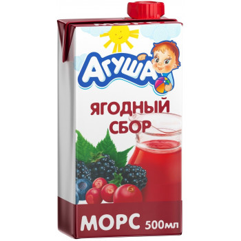 Агуша морс, ягодный сбор, от 3 лет, 500мл (06228)