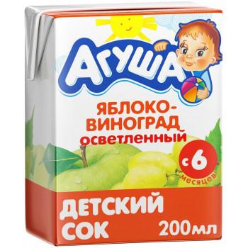 Агуша сок, яблоко и виноград осветленный, с 6 месяцев, 200мл (25204)