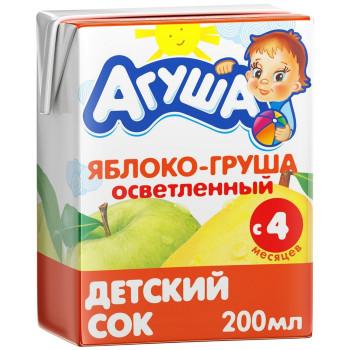 Агуша сок, яблоко и груша осветленный, с 4 месяцев, 200мл (25082)