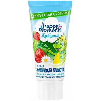 Happy moments Дракоша детская зубная паста, клубника, 60мл (23046)