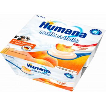 Humana молочный десерт с персиком, с 6 месяцев, 4шт*100гр (84452)